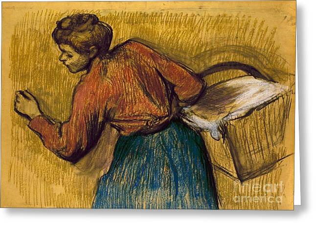 Laundress Greeting Cards - DEGAS: LAUNDRESS, c1888-92 Greeting Card by Granger