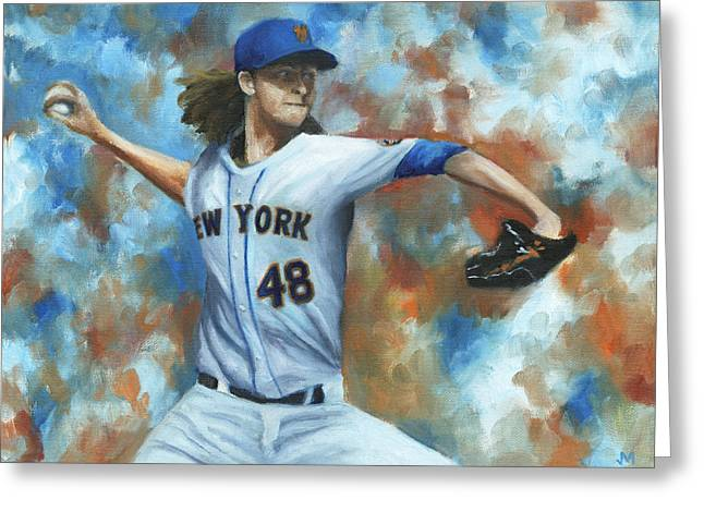 Baseball Paintings Greeting Cards - deGrom Greeting Card by Joe Maracic