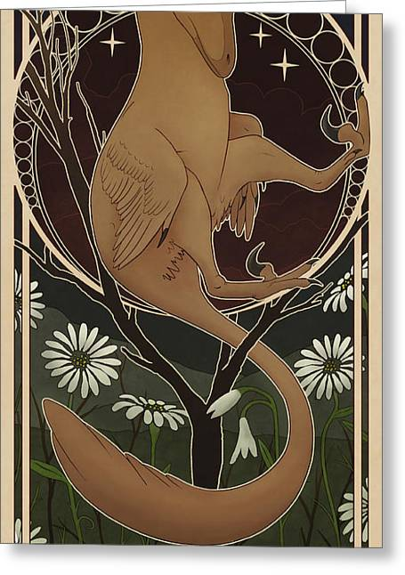 Deinonychus Greeting Cards - Deinonychus Antirrhopus Reconstructed Greeting Card by Christian Masnaghetti