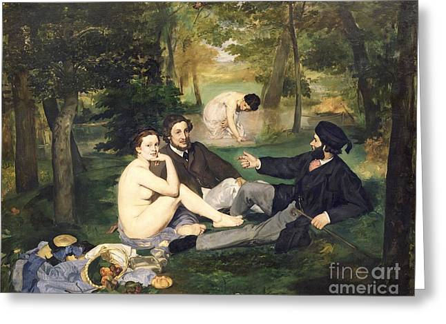 Impressionist Greeting Cards - Dejeuner sur l Herbe Greeting Card by Edouard Manet