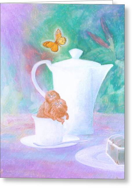 Chest Pastels Greeting Cards - Dejeuner sur table Greeting Card by Monica Bretschneider