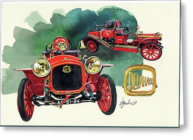 Delahaye 43hp Fire Engine  Greeting Card by Yoshiharu Miyakawa