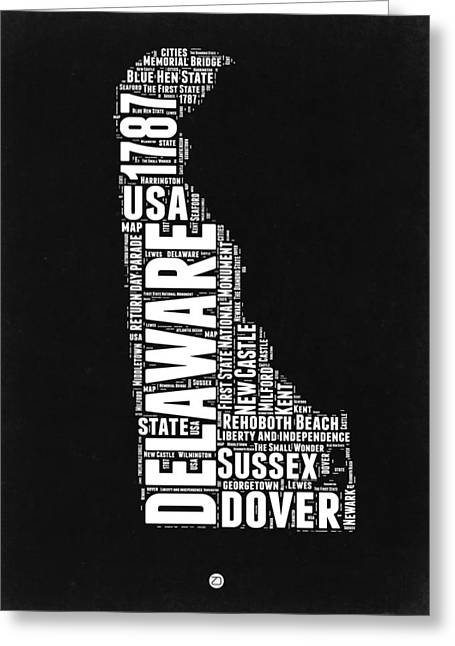 Delaware Black And White Map Greeting Card by Naxart Studio