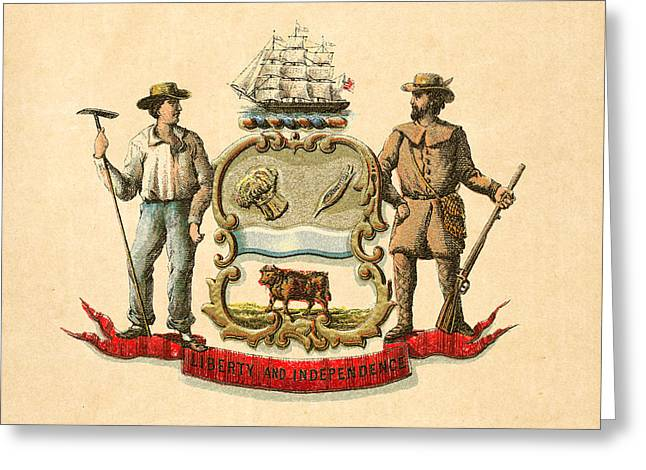 1876 Digital Greeting Cards - Delaware Historical Coat of Arms circa 1876 Greeting Card by Serge Averbukh