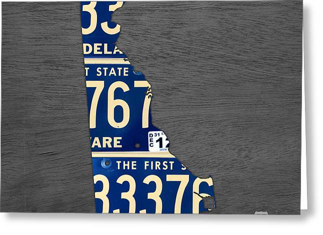 Delawares Greeting Cards - Delaware License Plate Map Recycled Vintage Car Tag State Shape Art Greeting Card by Design Turnpike