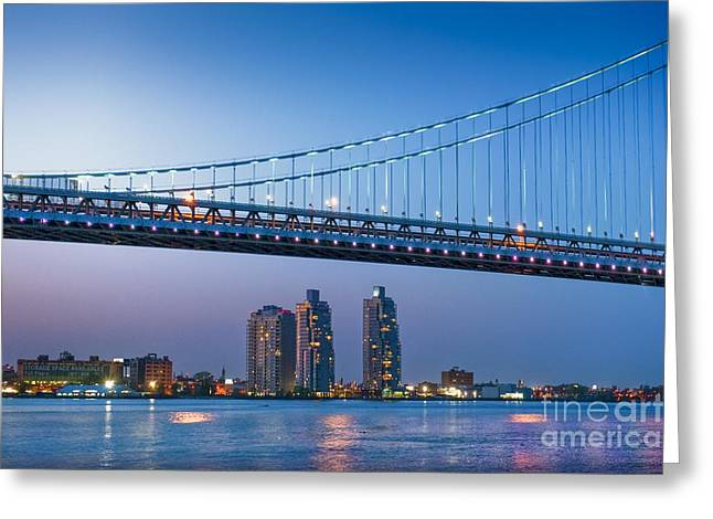 Downtown Franklin Greeting Cards - Delaware River Ben Franklin Bridge Greeting Card by David  Zanzinger