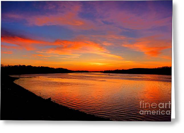 Delaware River Evening  Greeting Card by Olivier Le Queinec