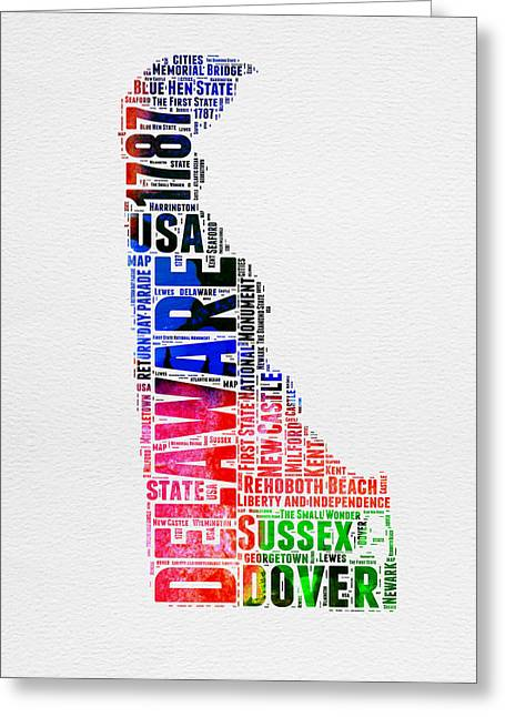 4th July Greeting Cards - Delaware Watercolor Word Cloud  Greeting Card by Naxart Studio
