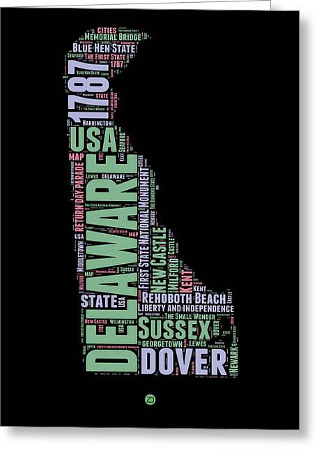 4th July Greeting Cards - Delaware Word Cloud 1 Greeting Card by Naxart Studio