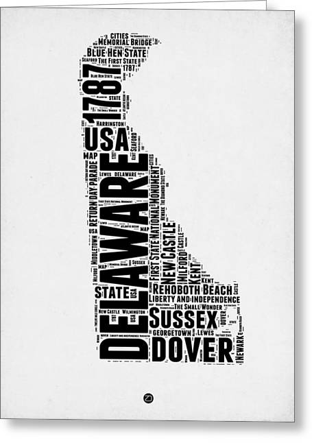 4th July Greeting Cards - Delaware Word Cloud 2 Greeting Card by Naxart Studio