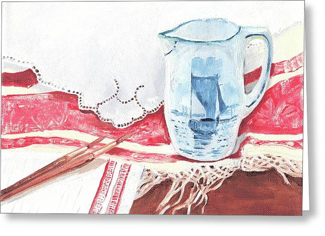 Pottery Pitcher Paintings Greeting Cards - Delft and linens Greeting Card by Kathryn B