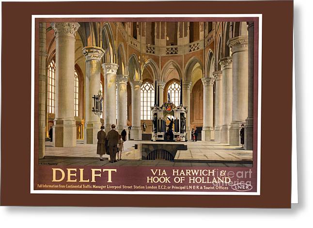 Europe Mixed Media Greeting Cards - Delft Vintage Travel Poster Restored Greeting Card by Carsten Reisinger
