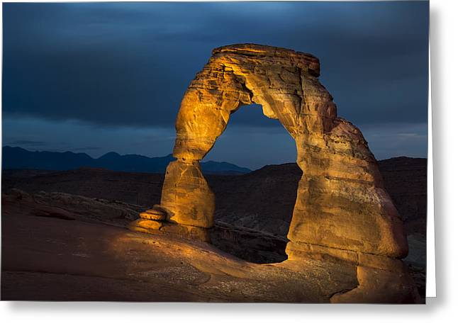 Landforms Greeting Cards - Delicate Arch at Night Greeting Card by Adam Romanowicz