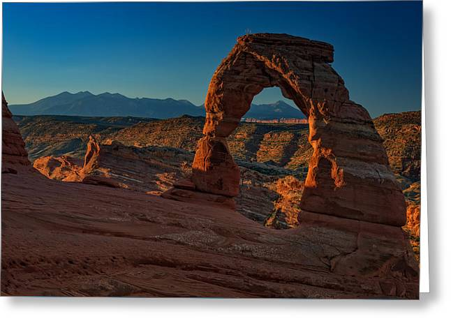 Delicate Arch At Sunrise Greeting Card by Rick Berk