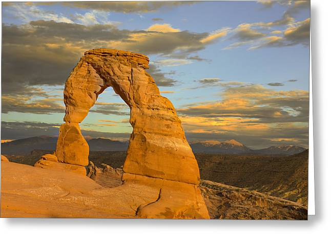 Colorful Cloud Formations Greeting Cards - Delicate Arch at Sunset Greeting Card by Adam Romanowicz