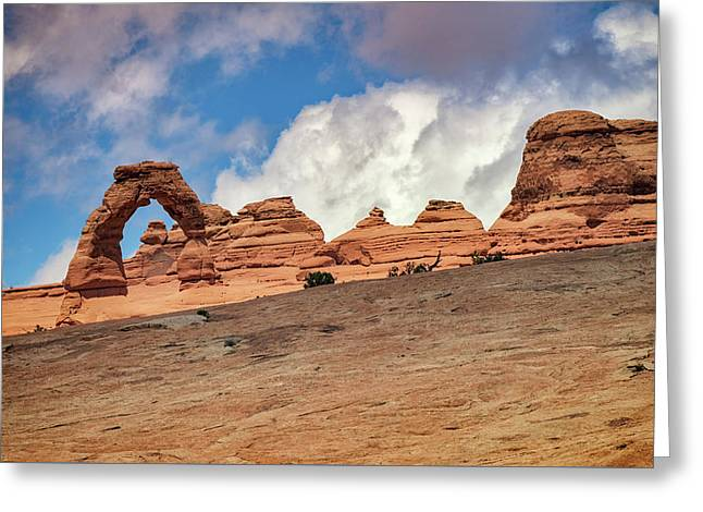 Delicate Arch From Below Greeting Card by Rick Berk
