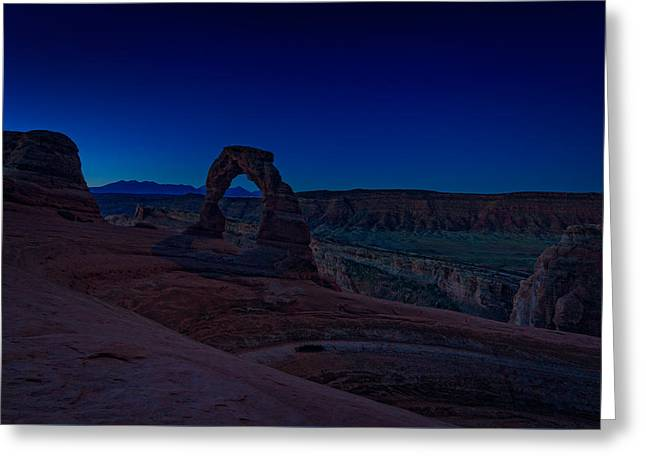 Delicate Arch In The Blue Hour Greeting Card by Rick Berk