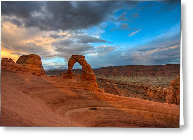 Delicate Arch Sunset Greeting Card by Jeff Clay