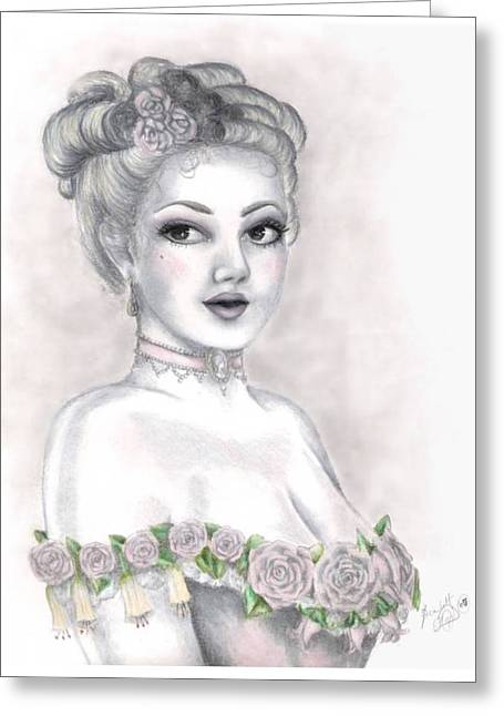 Cameo Drawings Greeting Cards - Delicate Beauty Greeting Card by Scarlett Royal