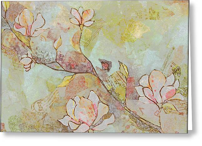 Delicate Magnolias Greeting Card by Shadia Zayed