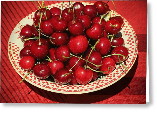 Delicious Cherries Greeting Card by Carol Groenen
