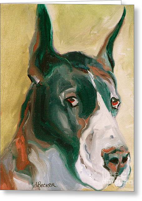 Great Dane Prints Greeting Cards - Delicious Dane Greeting Card by Susan A Becker