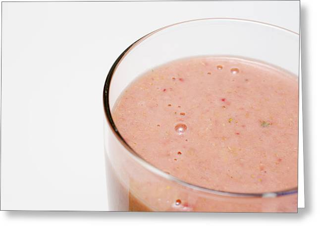 Delicious Strawberry Smoothie Isolated On White Greeting Card by Donald Erickson
