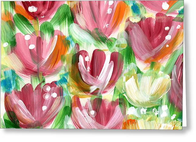 Delightful Tulip Garden Greeting Card by Linda Woods