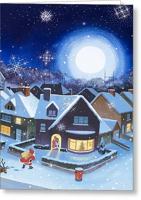 Nicholas Greeting Cards - Delivery by Father Christmas Greeting Card by English School