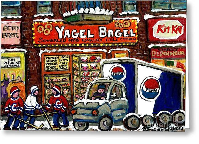 Snowy Day Greeting Cards - Delivery Day Yagel Bagel Bakery Pepsi Truck Boys Playing Hockey Best Montreal Hockey Winter Art Greeting Card by Carole Spandau