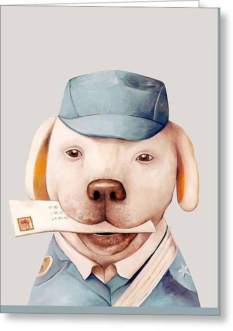 Doggy Clothes Greeting Cards - Delivery Dog Greeting Card by Animal Crew