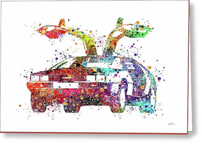 Delorean 1980 Watercolor Print Greeting Card by Svetla Tancheva