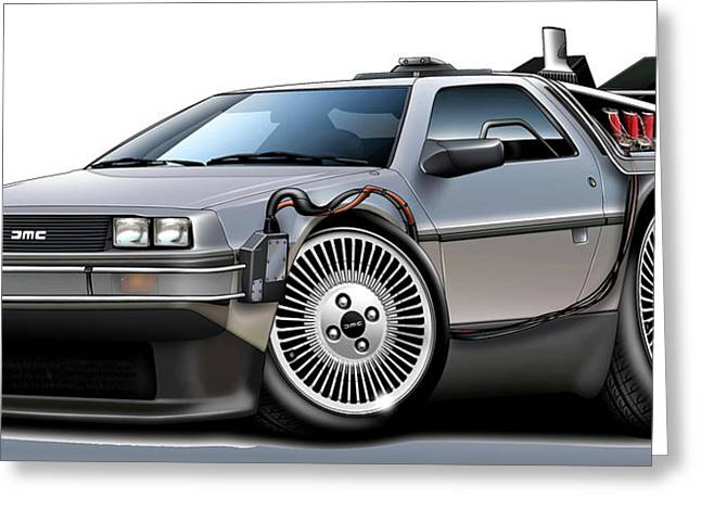 Delorean Back to the Future Greeting Card by Maddmax