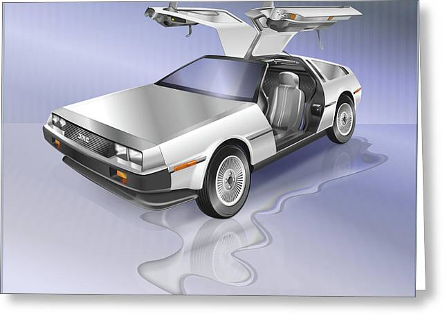 Delorean Greeting Card by Marty Garland