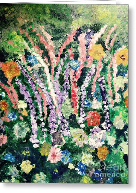 Delphineum Greeting Cards - Delphineums 2 Greeting Card by Evelyn Osgood