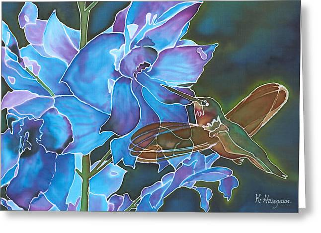 Recently Sold -  - Sunlight On Flowers Greeting Cards - Delphinium Delight Greeting Card by Karen Hasegawa
