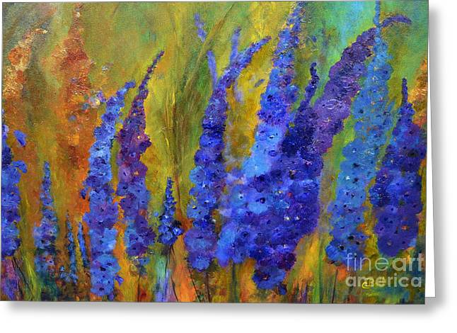 Claire Bull Greeting Cards - Delphiniums Greeting Card by Claire Bull