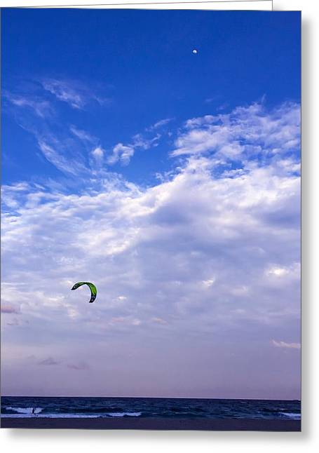 Kite Greeting Cards - Delray Beach Florida Kite Surfer Greeting Card by Kathryn A Thompson