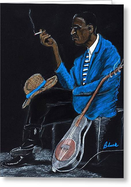 Blue Pastels Greeting Cards - Delta Blues Greeting Card by Charlie Black