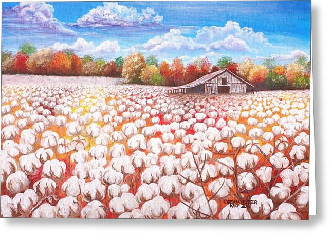 Turning Of The Leaves Paintings Greeting Cards - Delta Cotton field with Webbs barn Greeting Card by Cecilia Putter