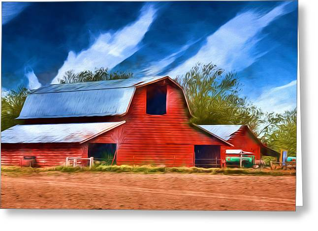 Barry Styles Greeting Cards - Delta Red Barn - Rural Landscape Greeting Card by Barry Jones