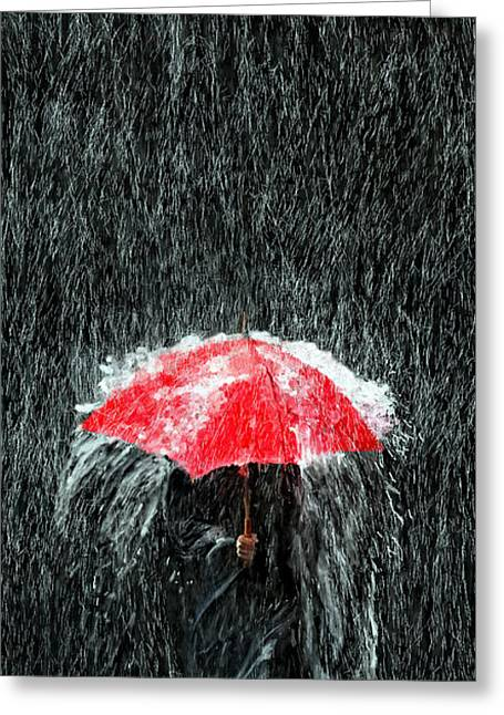 Unbrella Greeting Cards - Deluge Greeting Card by James Shepherd
