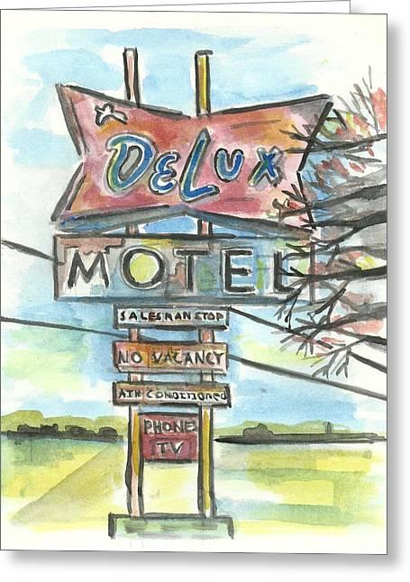Delux Motel Greeting Card by Matt Gaudian