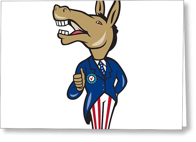 Thumbs Up Greeting Cards - Democrat Donkey Mascot Thumbs Up Cartoon Greeting Card by Aloysius Patrimonio