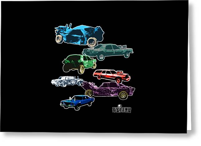 Demolition Derby Cars Greeting Card by George Randolph Miller