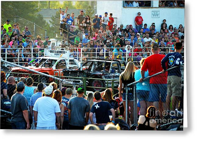 Demolition Derby Greeting Cards - Demolition Derby Greeting Card by Catherine Sherman