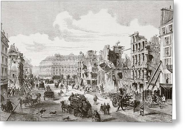 Paix Greeting Cards - Demolition Of Buildings In The Rue De Greeting Card by Vintage Design Pics