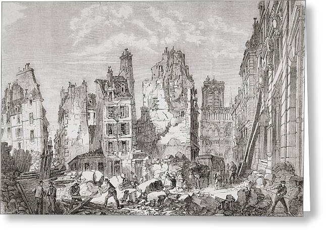 Reform Drawings Greeting Cards - Demolition Work In Paris, France To Greeting Card by Vintage Design Pics