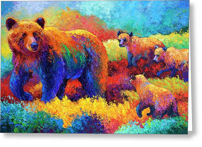Contemporary Oil Greeting Cards - Denali Family Greeting Card by Marion Rose