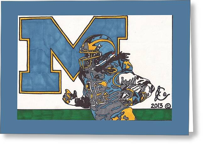 College Football Drawings Greeting Cards - Denard Robinson 1 Greeting Card by Jeremiah Colley